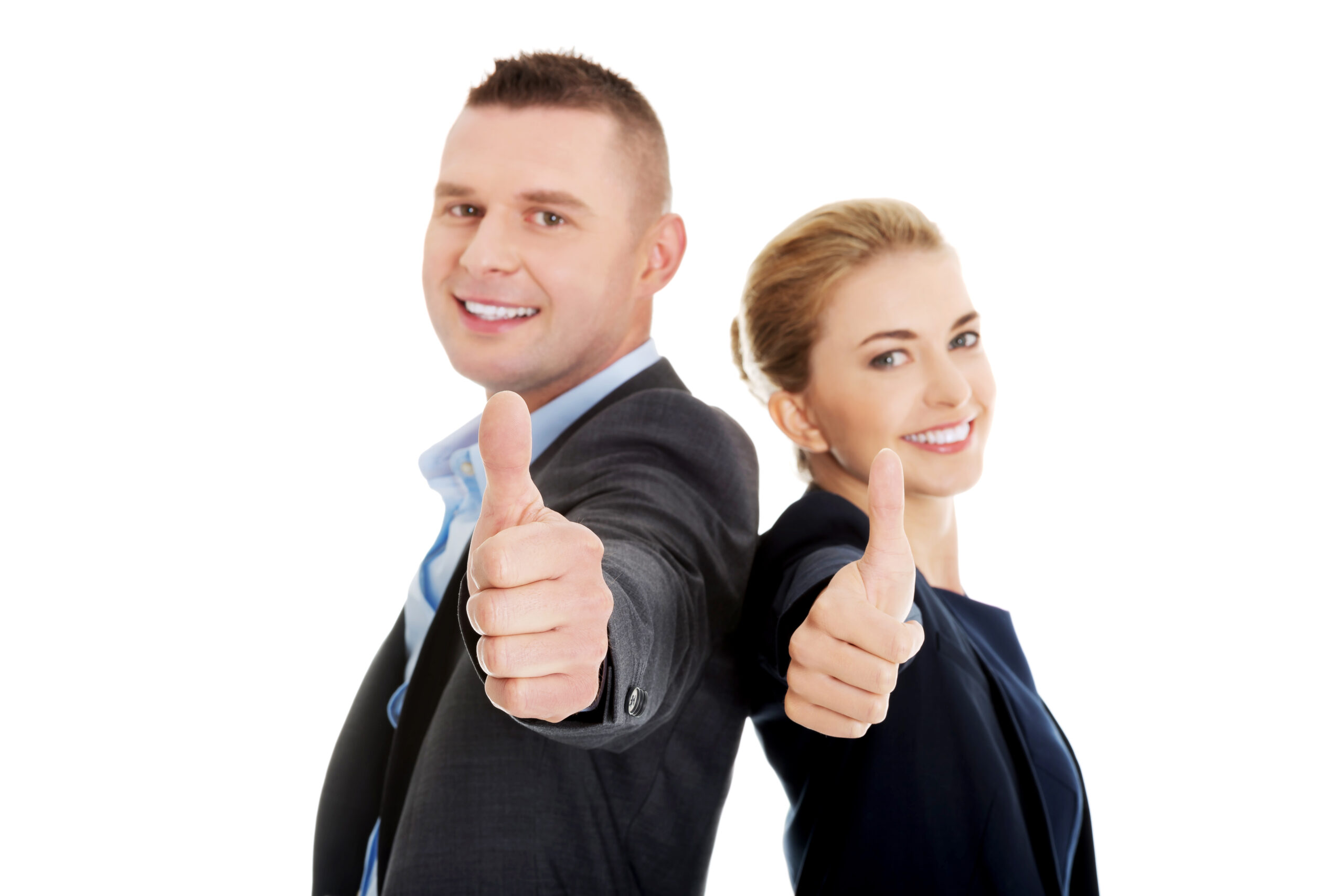 Business couple showing thumbs up.